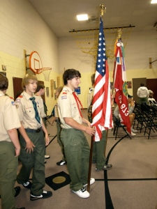 Flags in at the start of the ceremony