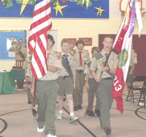 Retiring the Flags after the ceremony