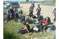Troop members getting ready to dive
